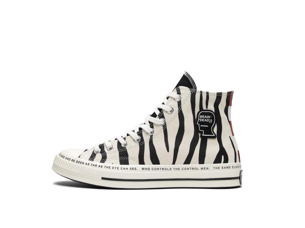 Sneakers Brain Dead x Converse animalier zebrate