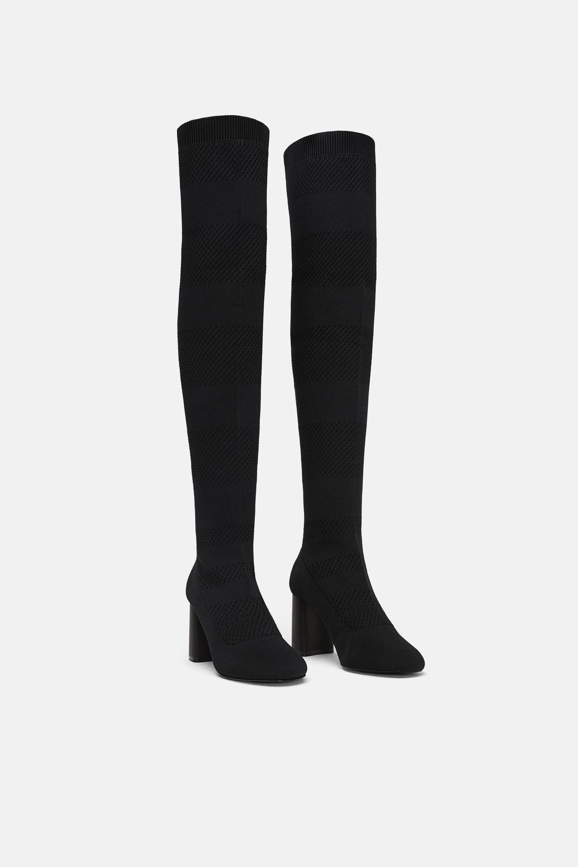 Stivali sopra il ginocchio a calza Zara