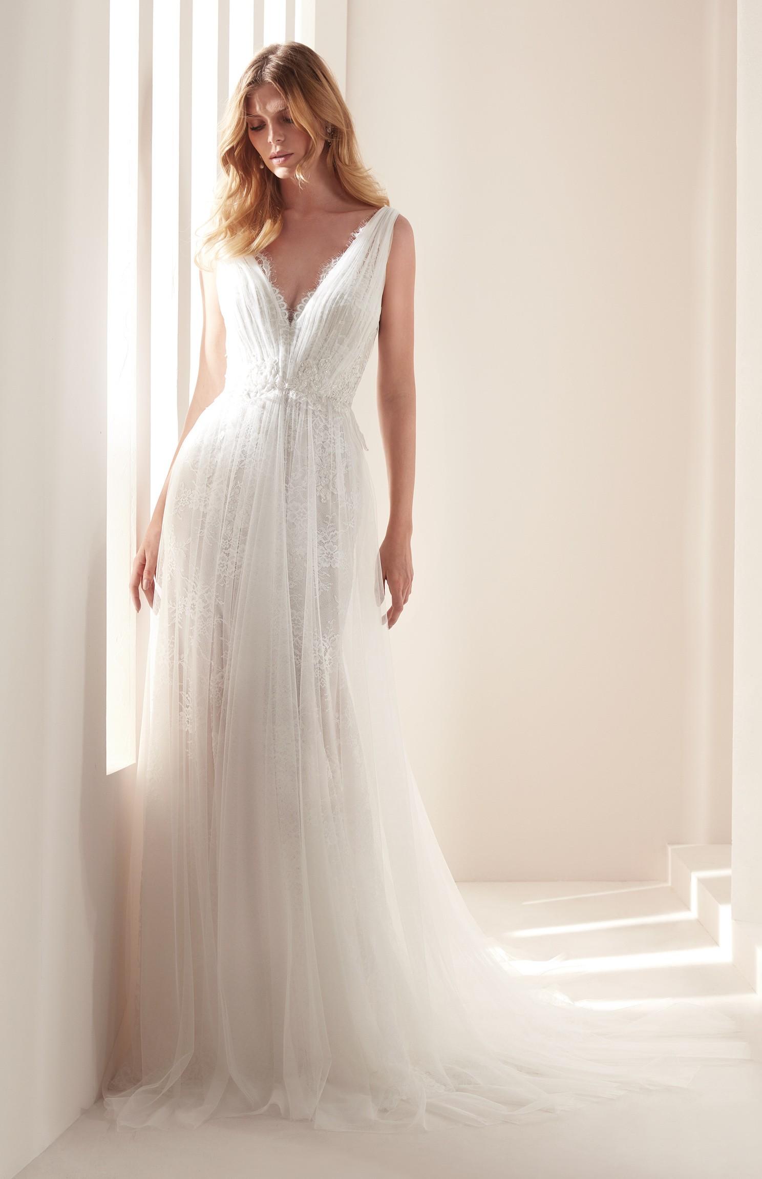 Vestito da sposa plissé scivolato Hannibal Laguna 2019