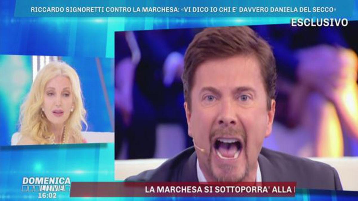 Riccardo Signoretti contro la Marchesa D'Aragona: 'Vigliacca, ridammi i soldi'