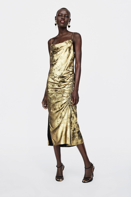 Abito oro Zara a 49,95 euro
