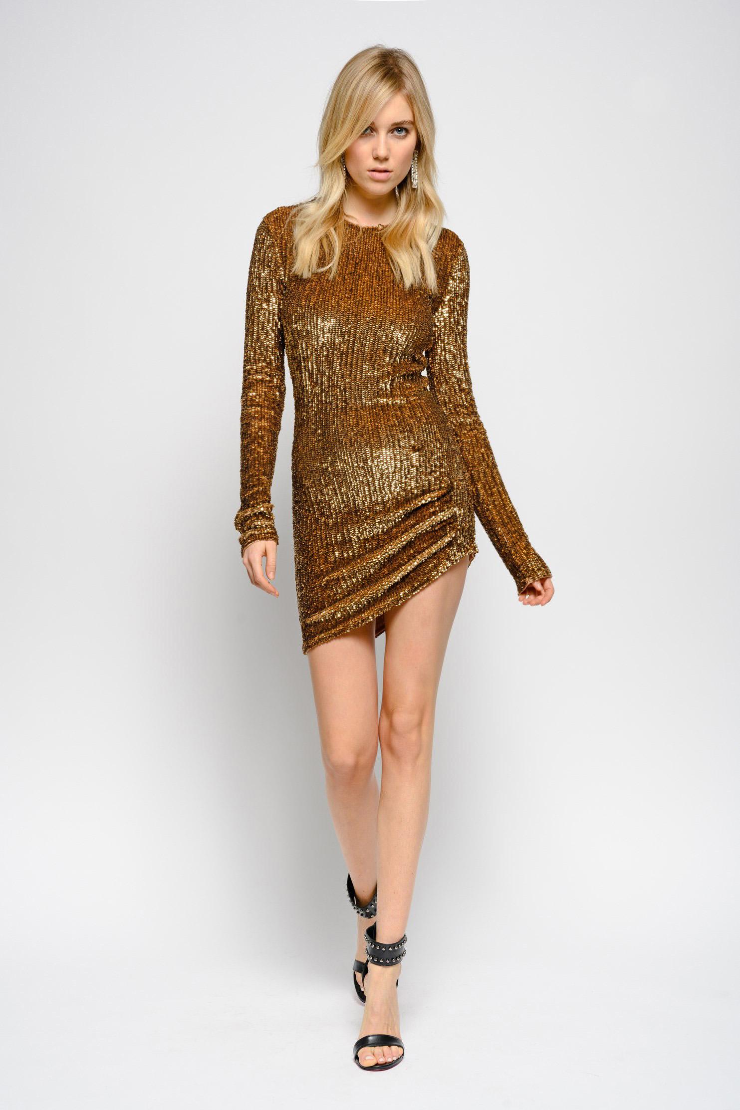 Abito oro glitter Pinko a 880 euro
