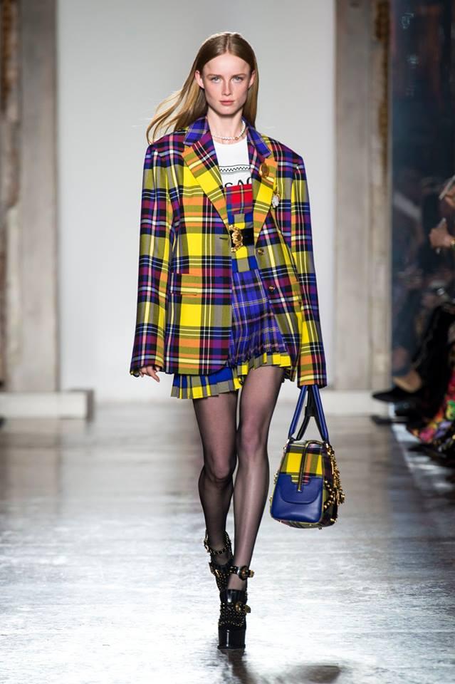 Blazer a quadri tartan Versace
