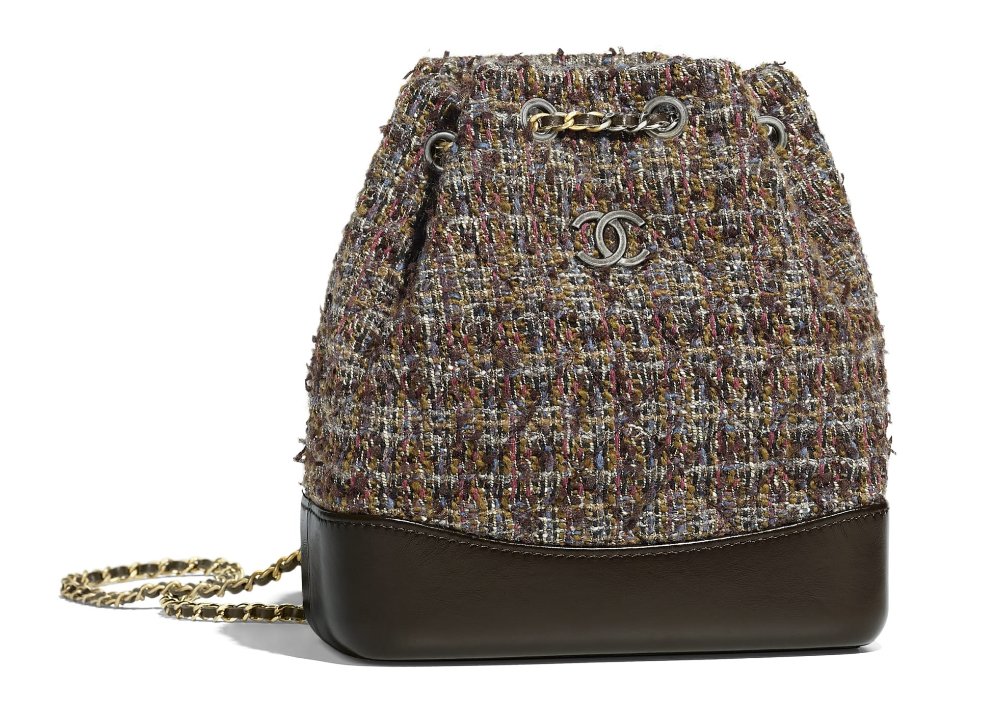 Borsa a secchiello Chanel in tweed e pelle tendenza inverno