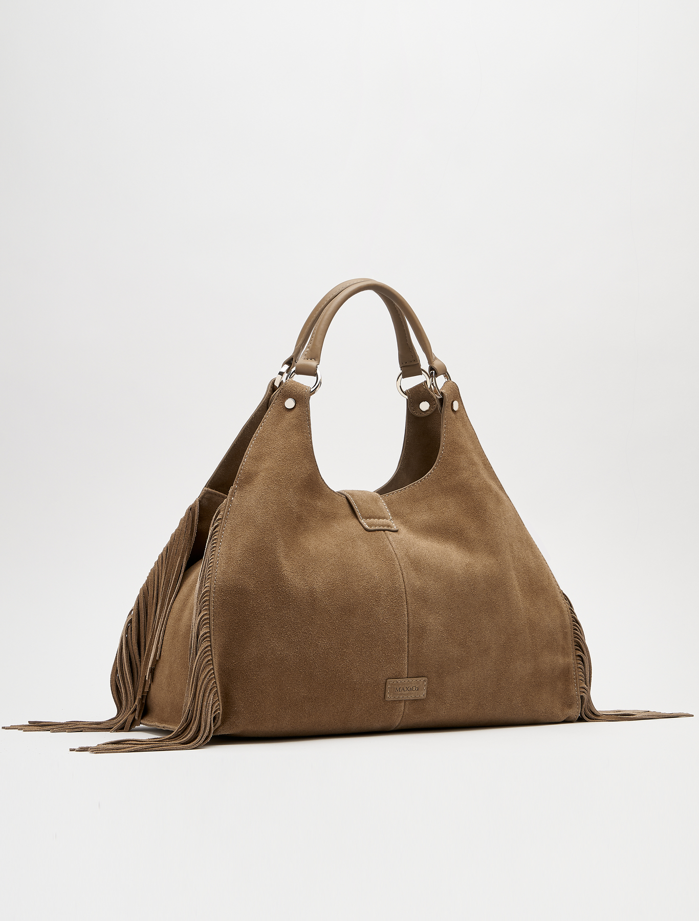 Borsa in camoscio beige con frange Max and Co a 259 euro