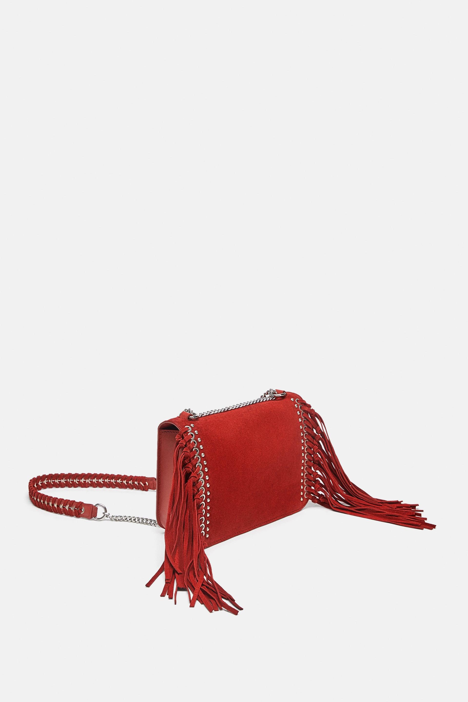 Borsa in camoscio con frange Zara inverno 2019