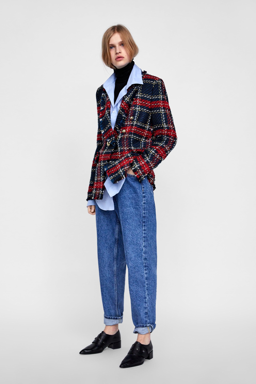 Giacca a quadri Zara in tweed