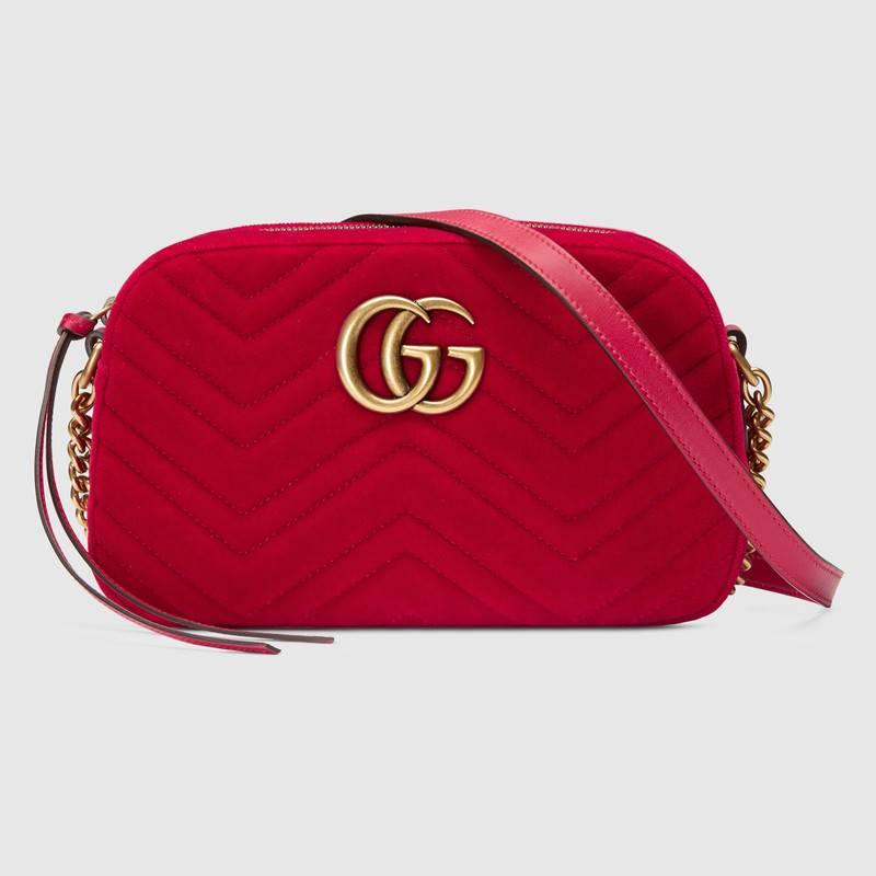 Mini bag rossa in velluto Gucci inverno 2019
