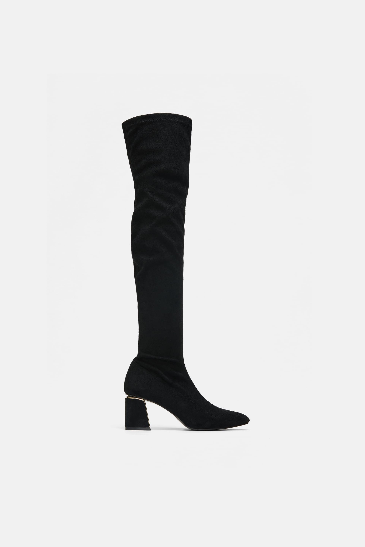 Stivali a calza con tacco Zara