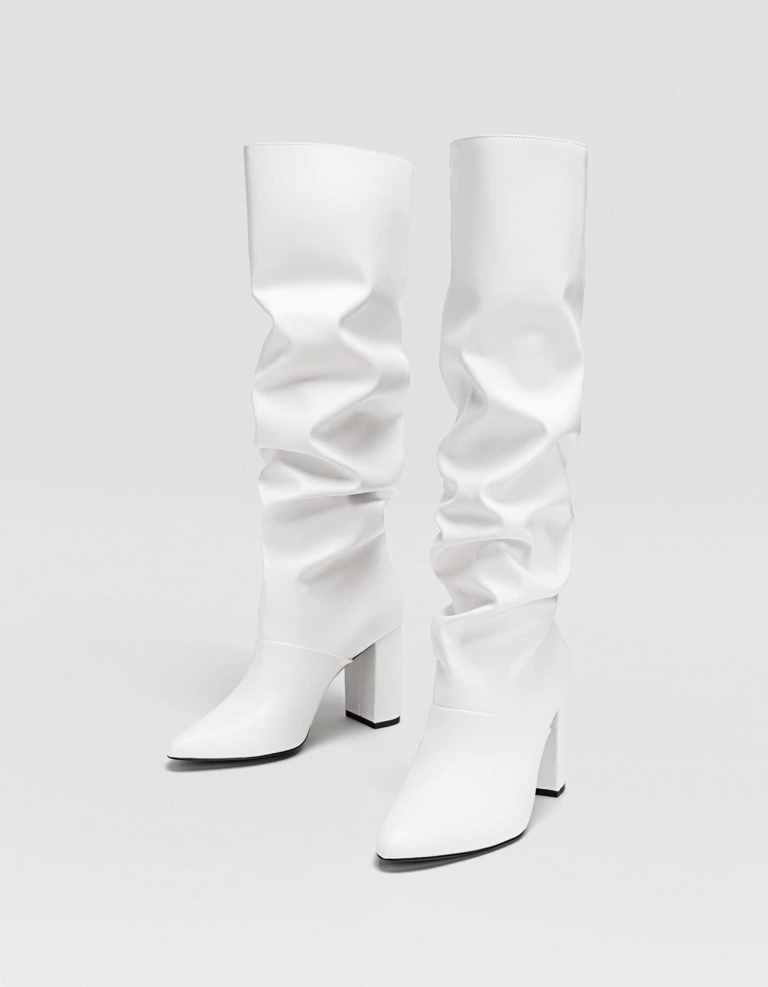 Stivali alti bianchi Stradivarius con tacco inverno 2019