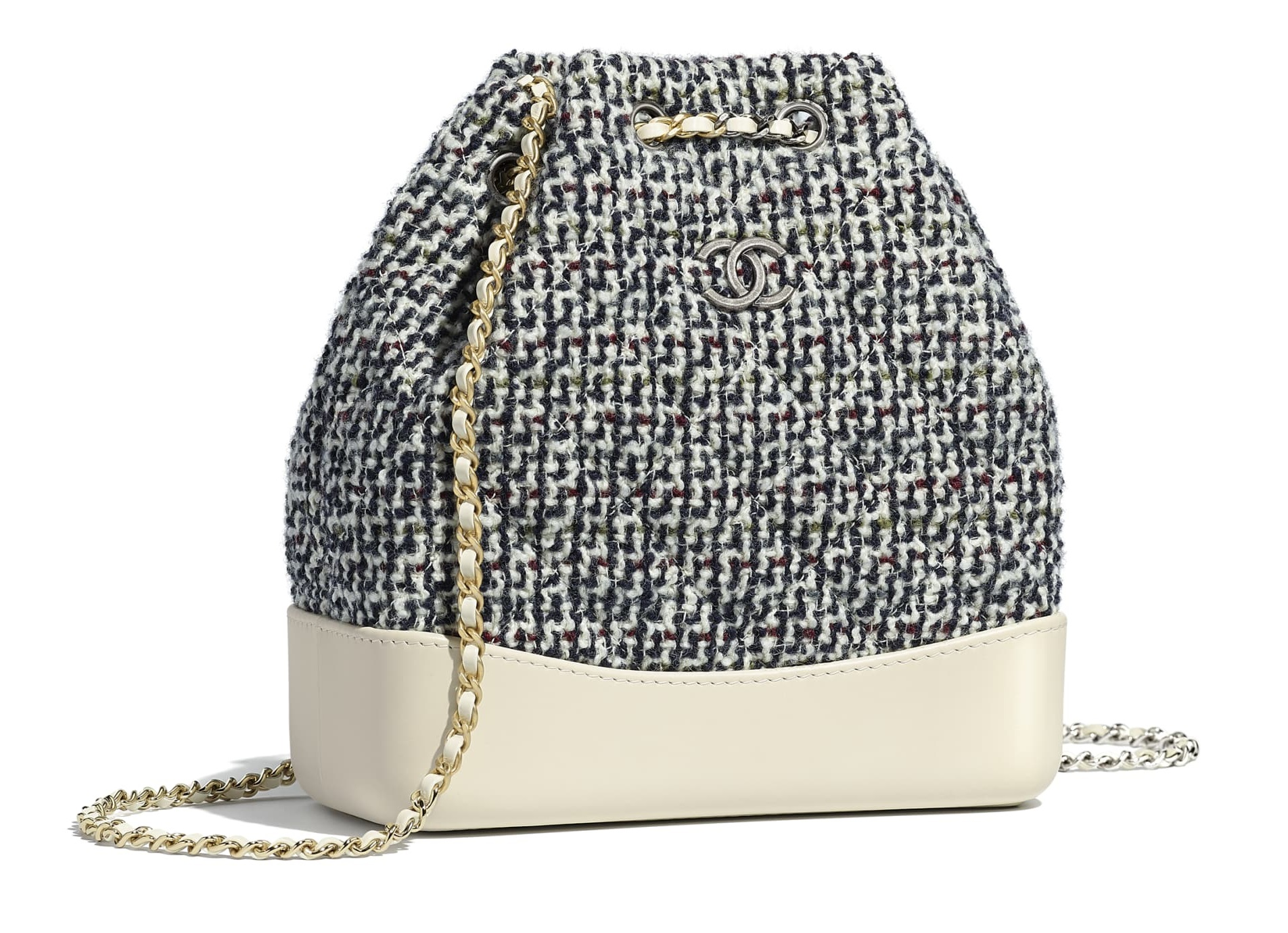 Zaino a secchiello Chanel in tweed tendenza inverno