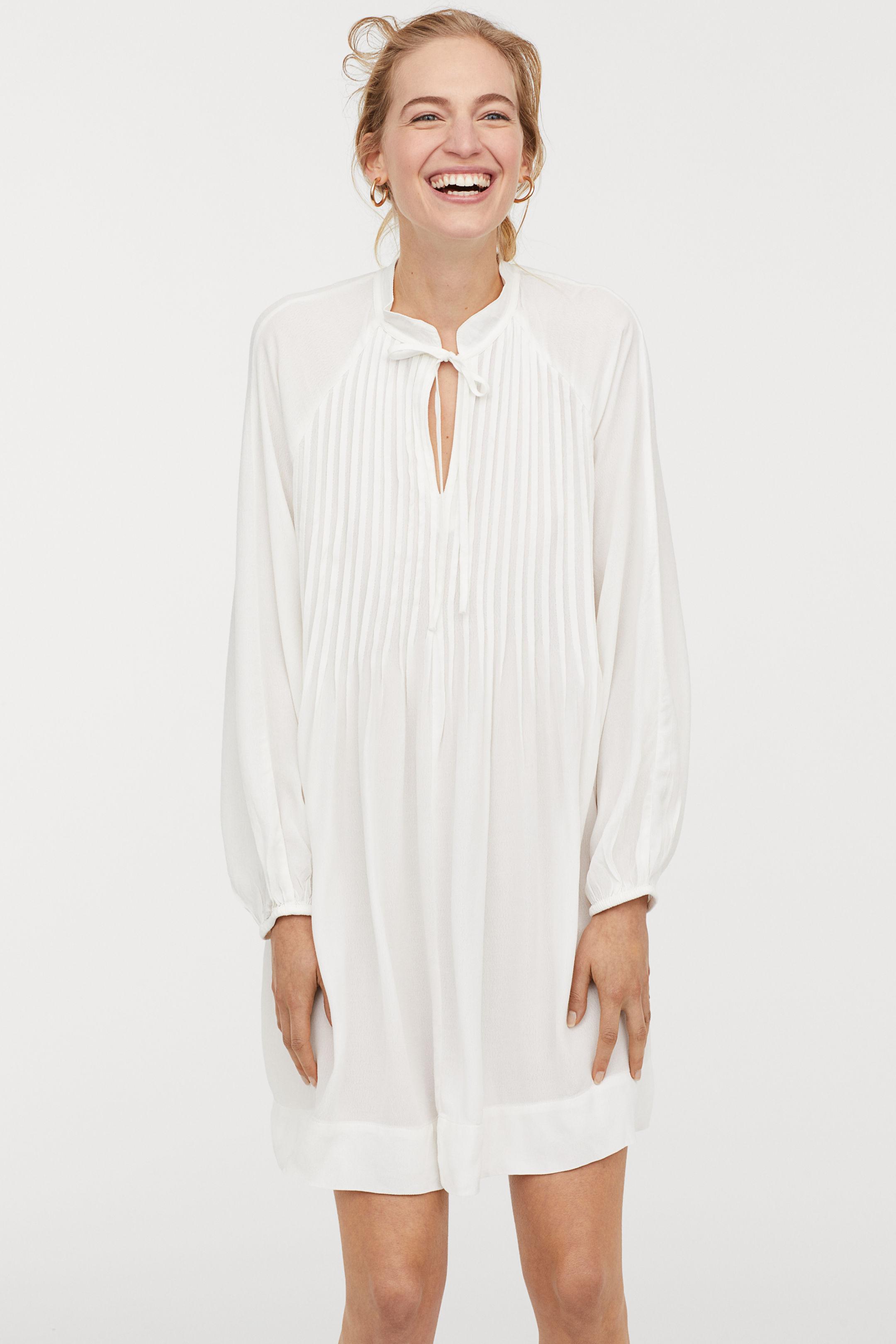 Abito chemisier bianco plissettato H&M