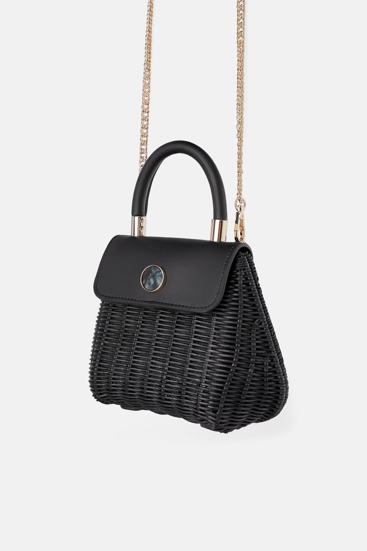 Borsa a mano in rafia nera Zara a 39,95 euro