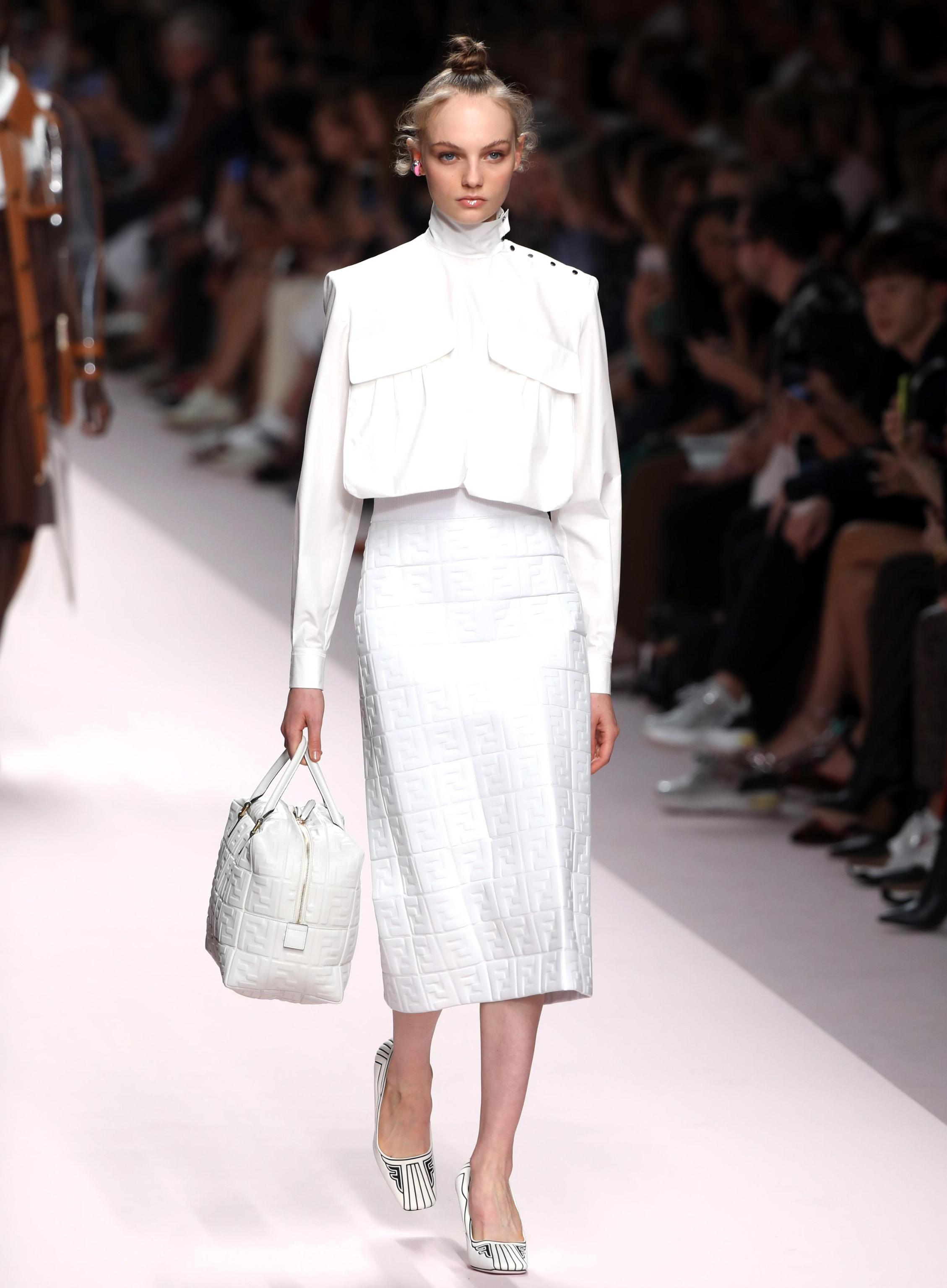 Look in total white Fendi