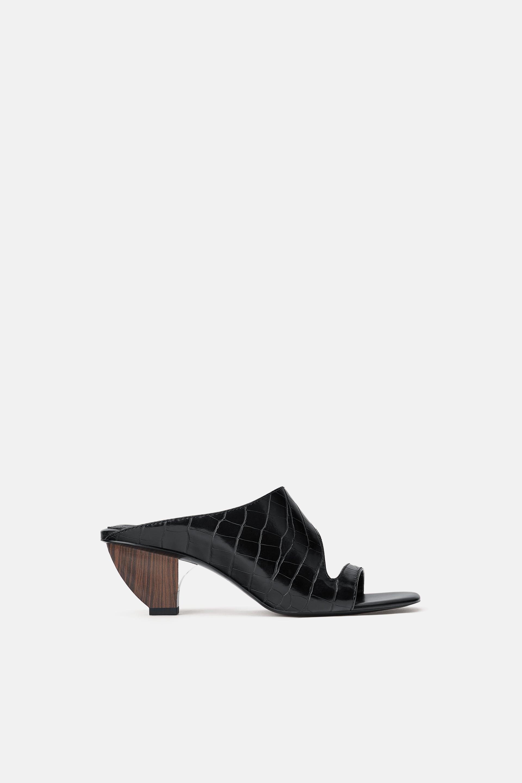 Sandali sabot neri Zara a 49,95 euro
