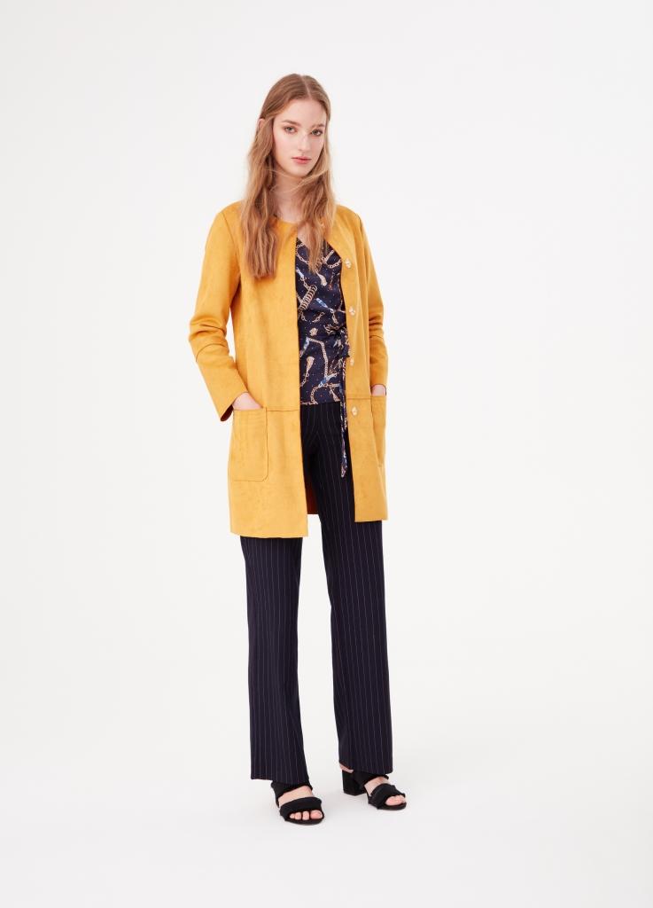 Cappotto giallo scamosciato OVS a 59,99 euro