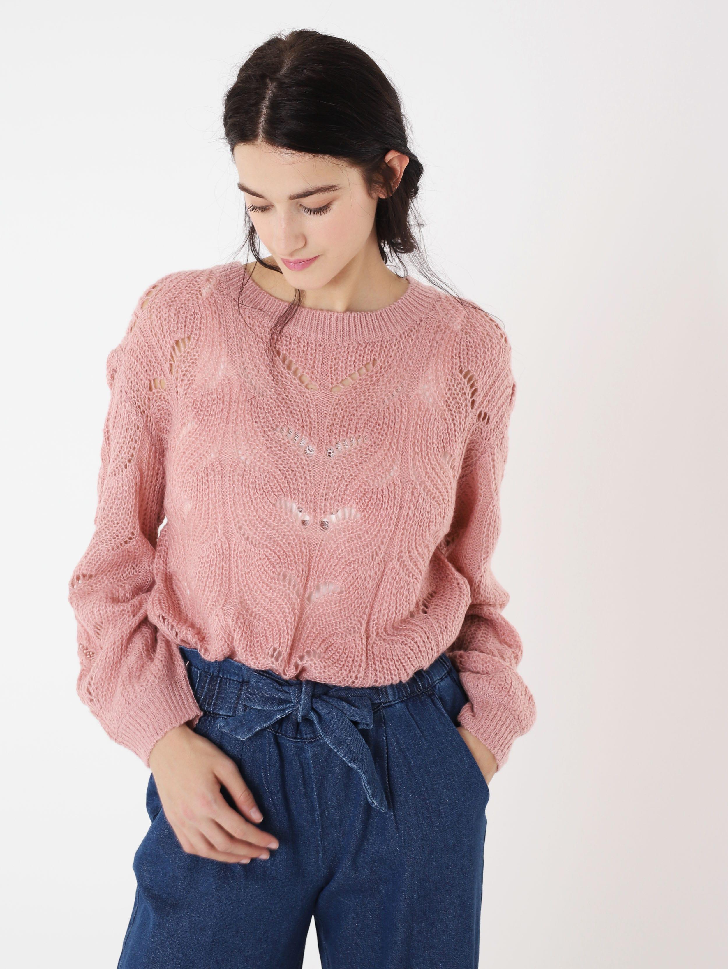 Maglione rosa lavorato a 25,99 euro