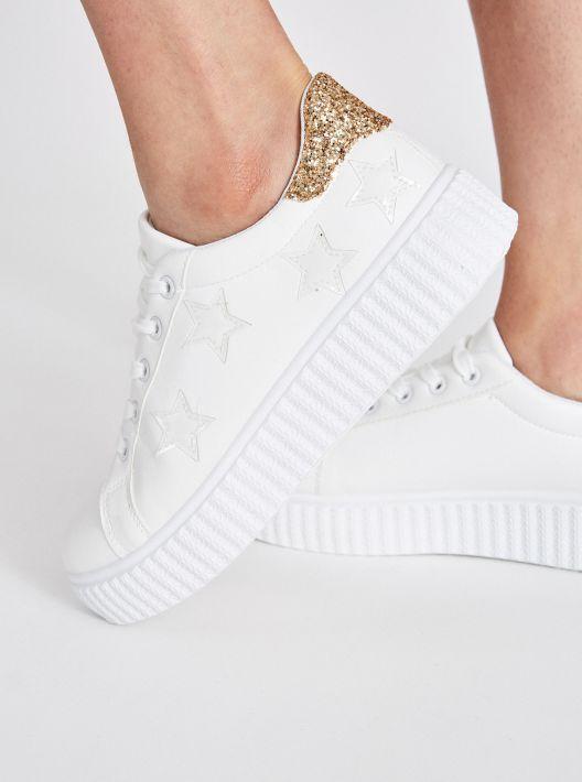 Sneakers bianche e glitter a 14,95 euro