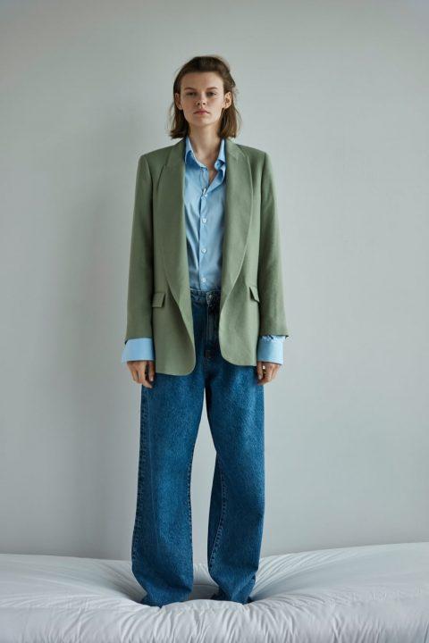 blazer verde zara