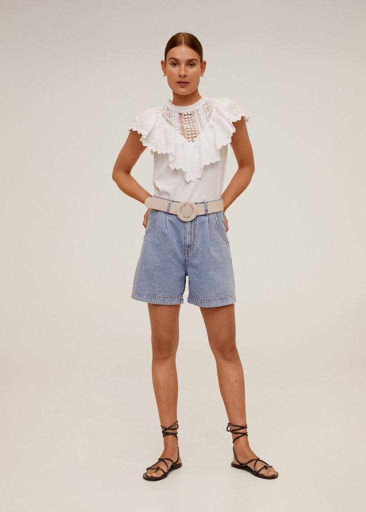 Crop top in volant con pizzo
