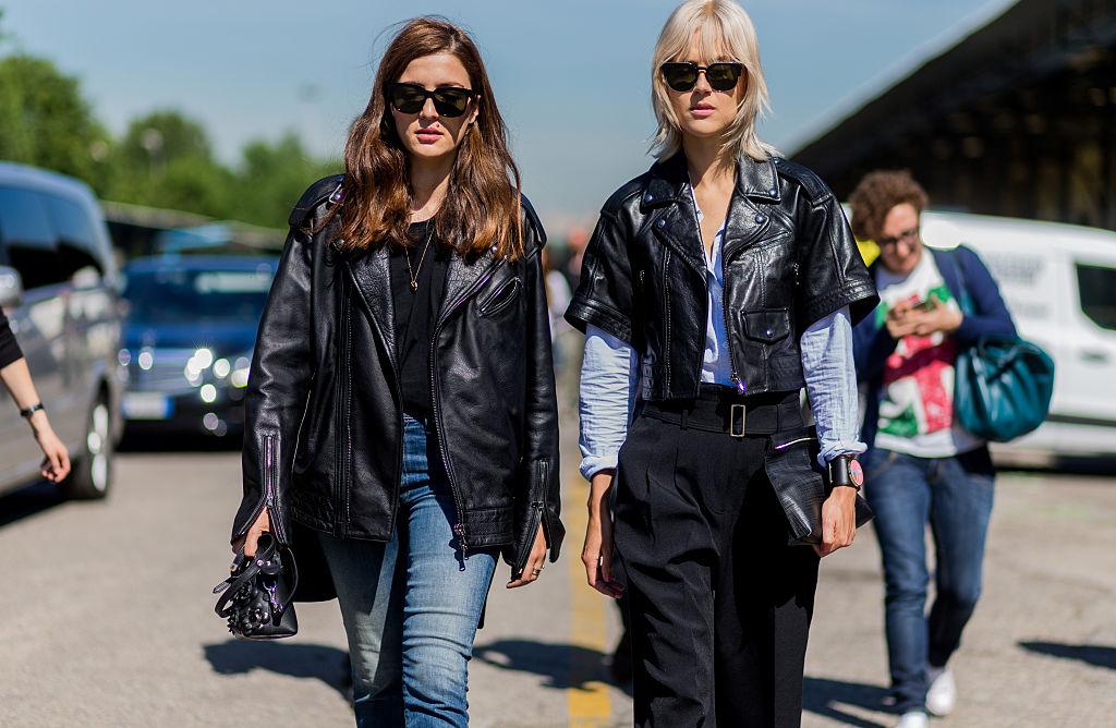 Tendenze settembre giacca pelle nera