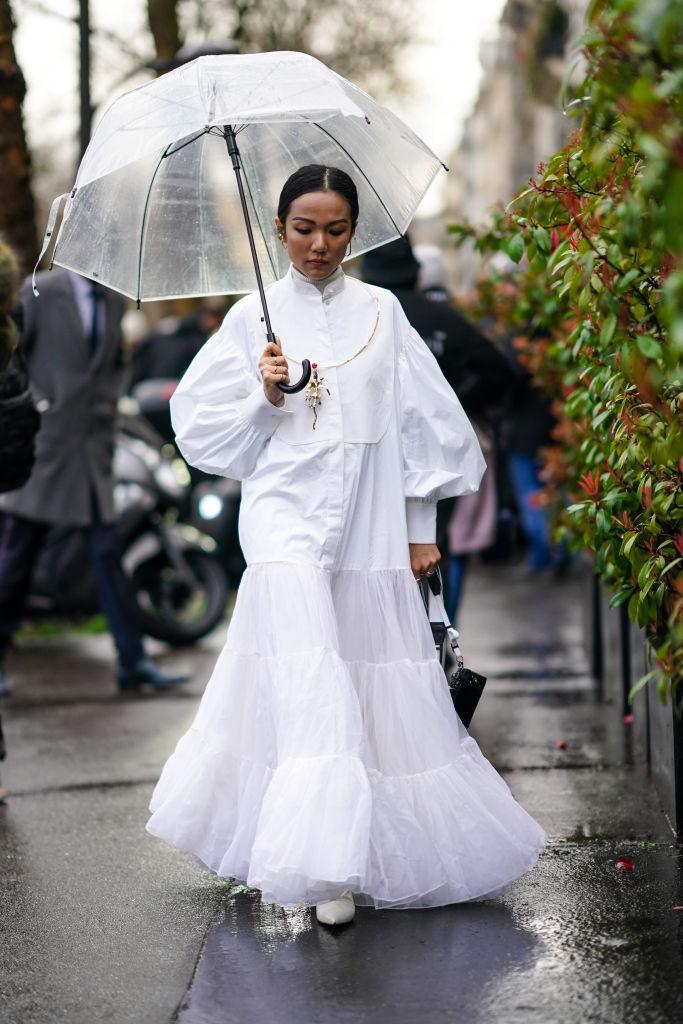 Look maxi abito stile vittoriano inverno 2021