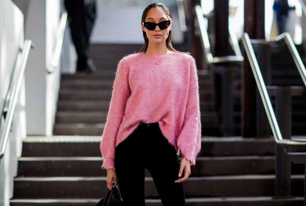 Maglione rosa in cachemire