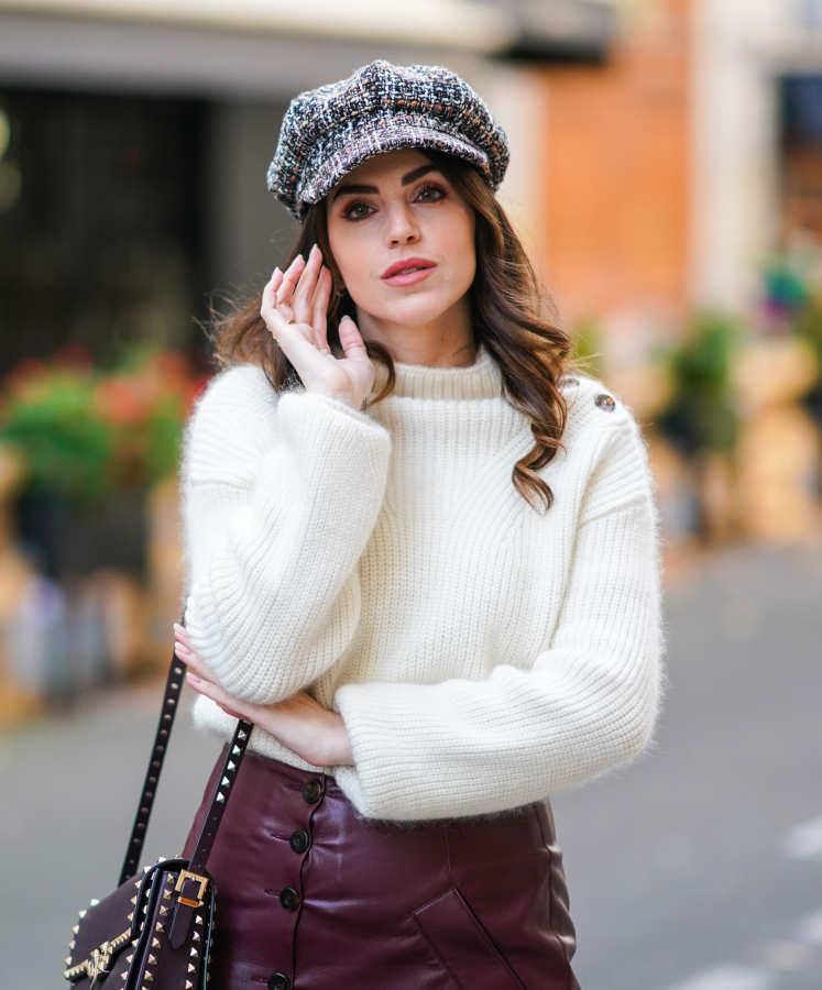 Maglione bianco invernale in lana