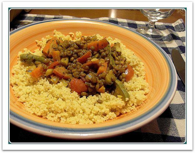 Cous cous con verdure e lenticchie