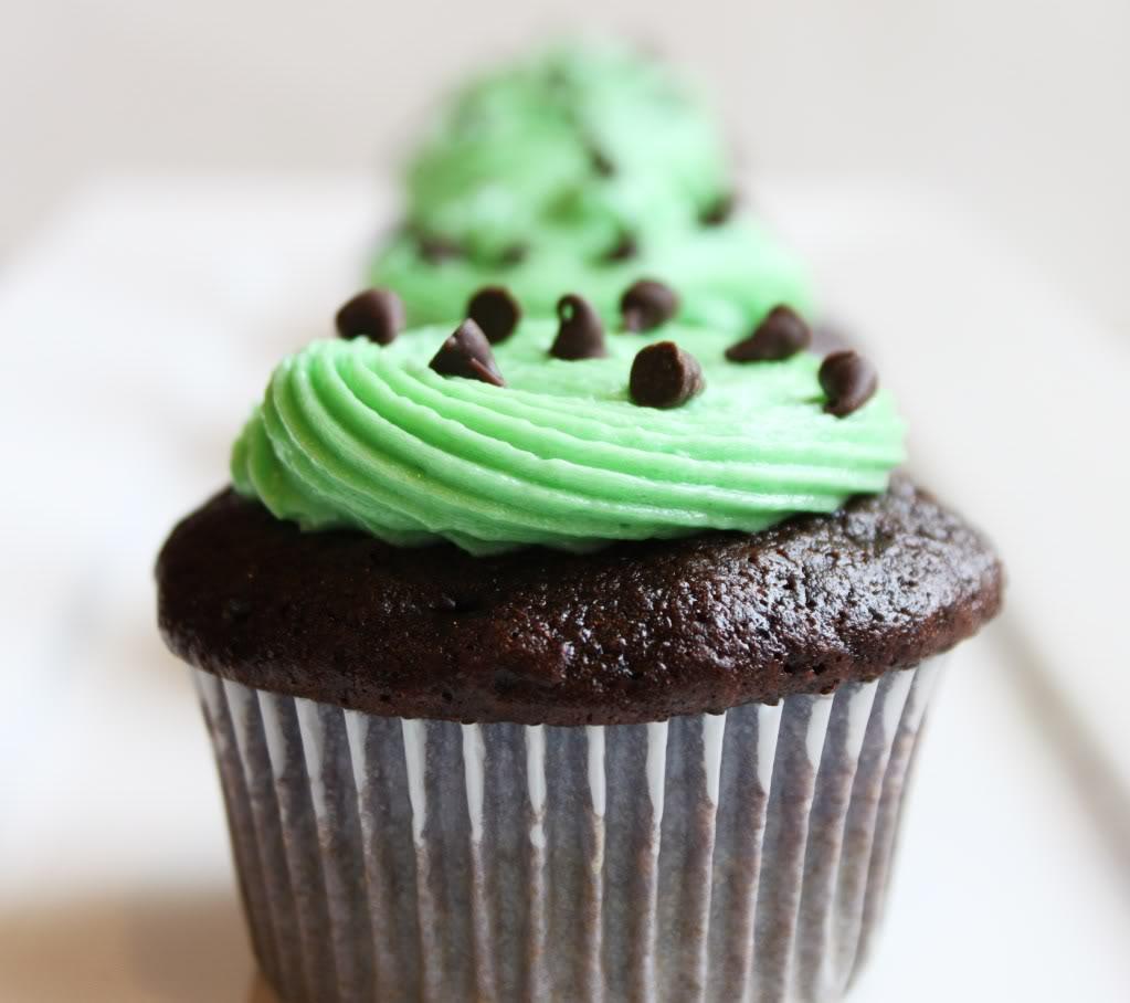 Cupcake al cioccolato con la menta
