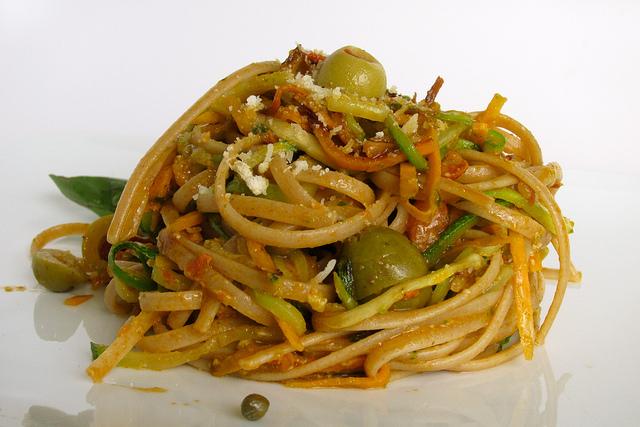 Sweet Potato, Zucchini + Pasta Putanesca   6