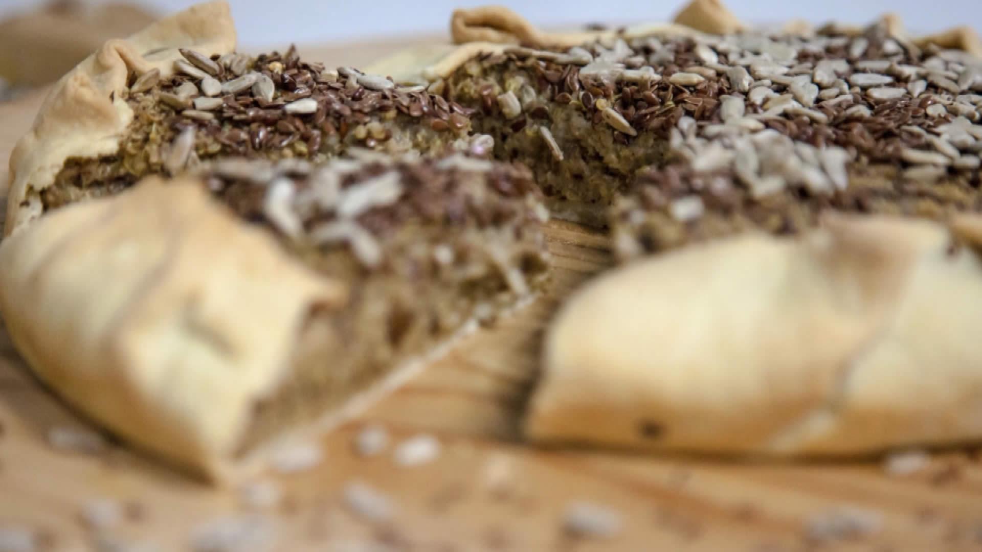 Torta con quinoa e funghi