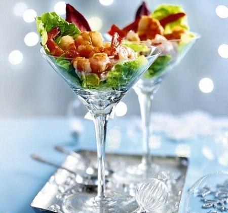 Bicchierini con gamberi e salmone
