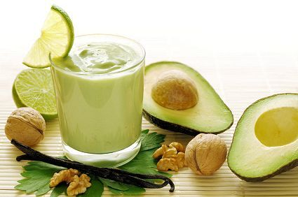 Fresh smoothie of avocados, vanilla, walnuts and limes.