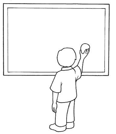 Disegno sulla scuola da colorare con bambino alla lavagna