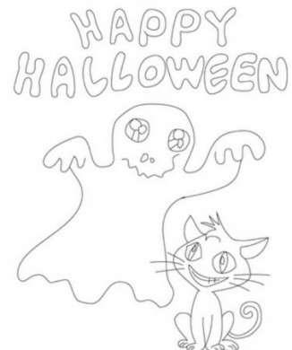 Fantasma con gatto di Halloween