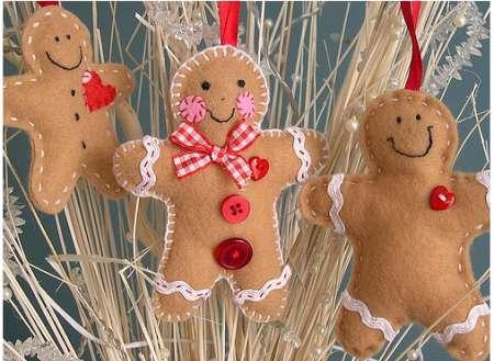 Addobbi di Natale in feltro omini pan di zenzero