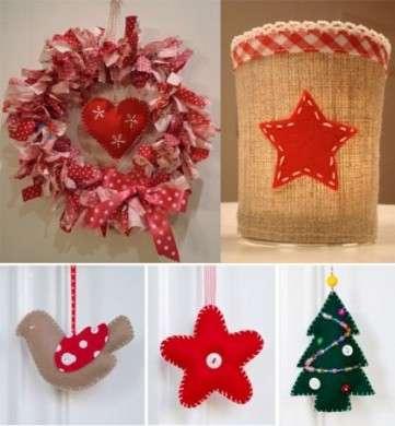 Addobbi di Natale misti in feltro