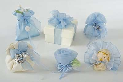 Bomboniere per battesimo in azzurro