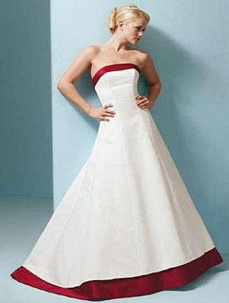 Abito da sposa bianco e rosso semplice