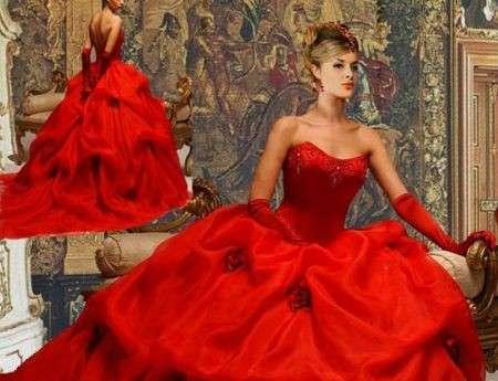 Abito da sposa rosso principessa