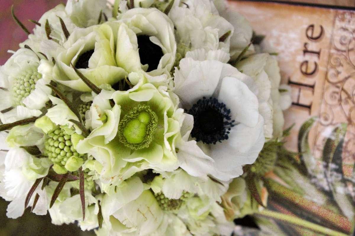 Bouquet sposa anemone e scabiosa bianche