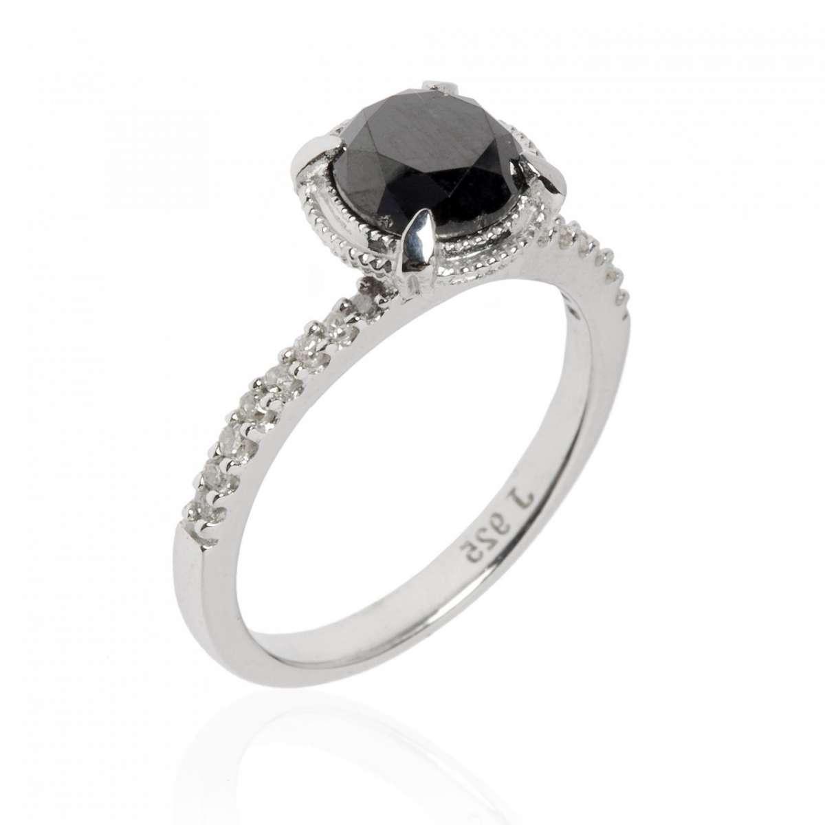 Fedina fidanzamento argento diamante nero