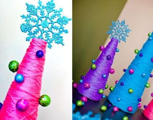 Decorazioni natalizie alberelli filo