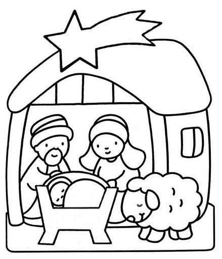 Disegni di Natale da colorare presepe con pecorella