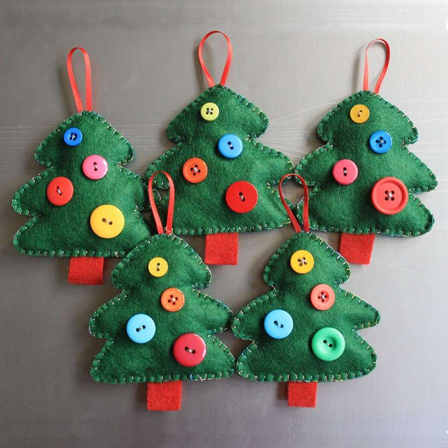 Lavoretti creativi Natale alberelli feltro