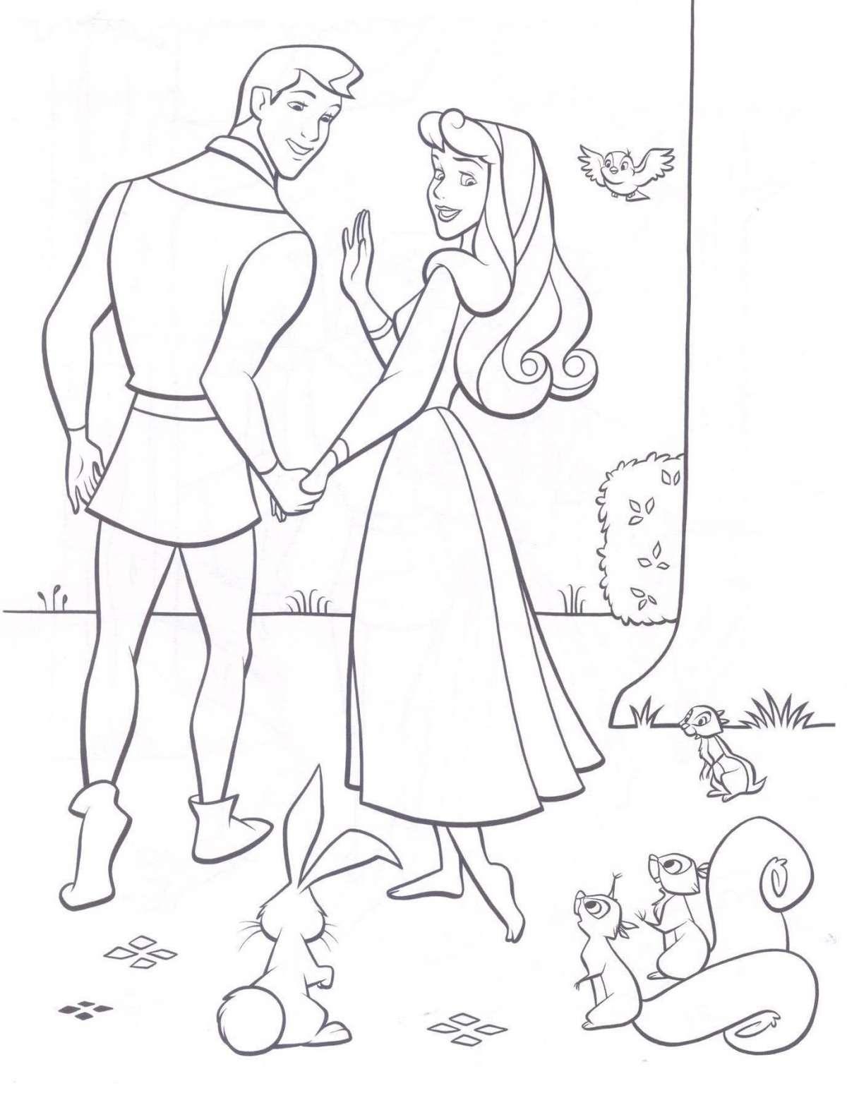 Principesse Disney da colorare Bella  Addormentata Principe e animaletti