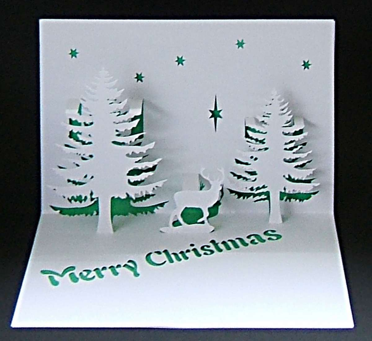 Biglietti pop up di Natale fai da te:alberi