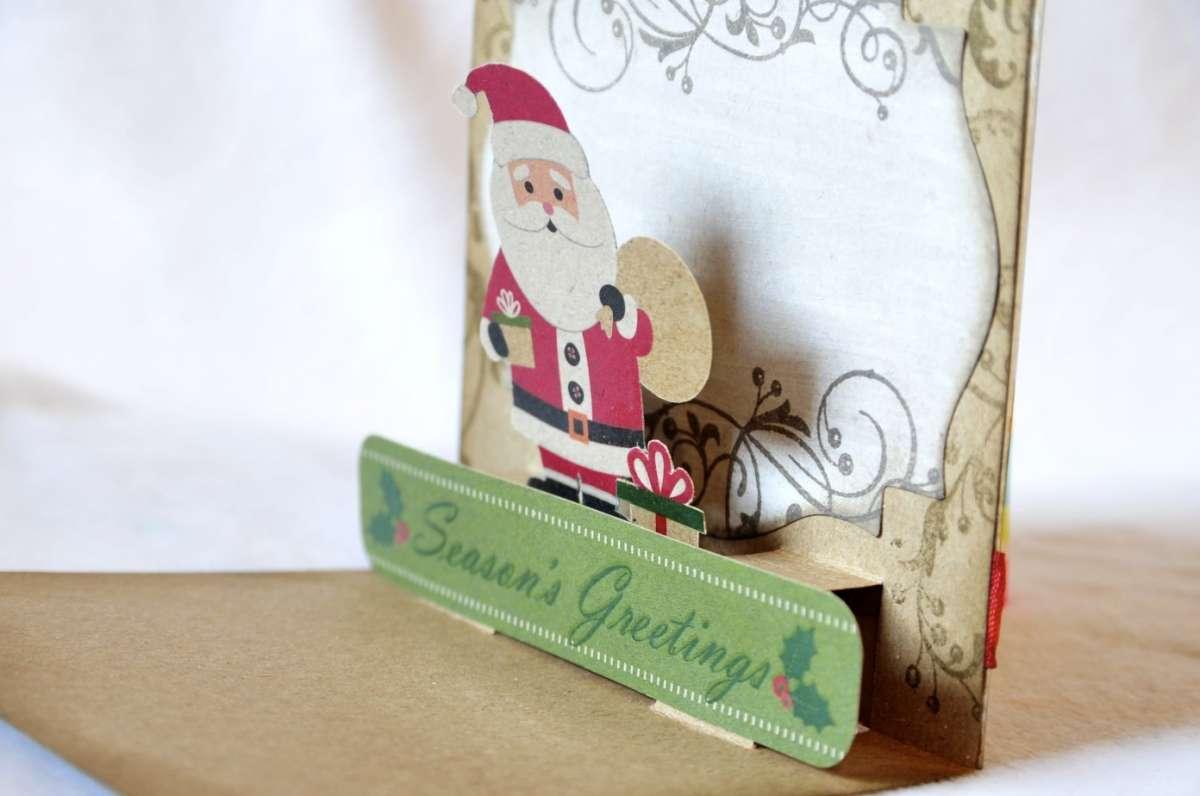 Biglietti pop up di Natale fai da te: Babbo Natale