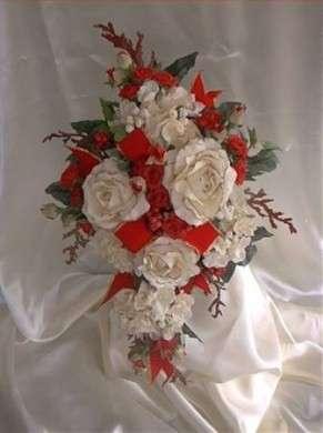 Bouquet sposa natale bianco e rosso